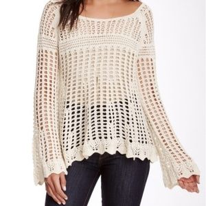 Free People Crocheted Bell Sleeve Sweater - XS